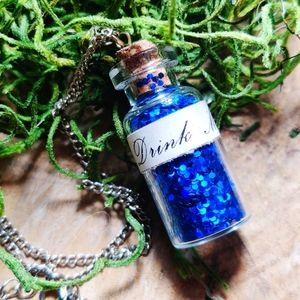 """Drink Me"" Alice In Wonderland Vial Charm Necklace"